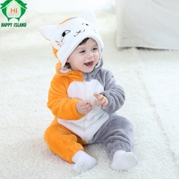100% Flannel Long Sleeve Spring Autumn Boy Girl Conjoined Baby Cute Cat Clothes Children Romper High Quality Baby Clothing