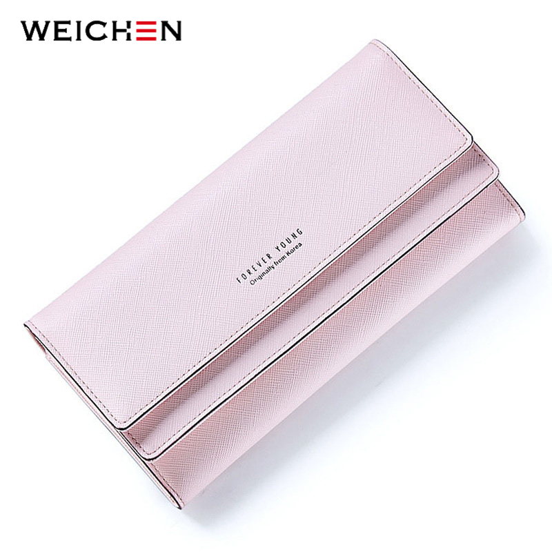 WEICHEN Fashion Casual Hasp Women Wallet Candy Color PU Leather Long Female Clutch Coin Purse Portable Wallet Carteira Feminina weichen latest pu leather zipper