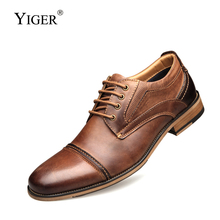 YIGER New Men dress shoes genuine leather male formal big size handmade business casual man oxfords lace-up  0311