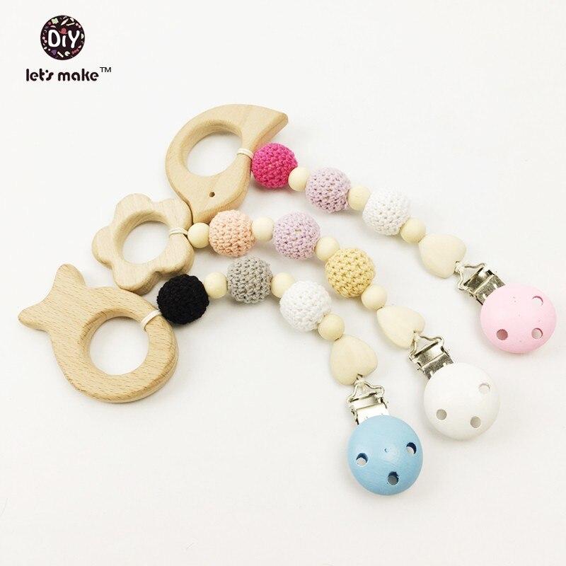 Let's make Wood Teething Toy Crochet Rattle Pink Montessori Toys Waldorf Baby Teething Baby  Rattle Teether teething toy