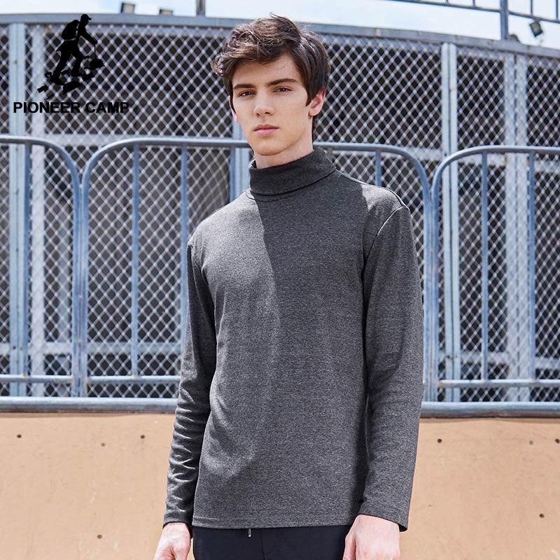 Pioneer Camp Col Roulé T-shirt hommes marque-vêtements solides manches longues col haut t-shirt mâle qualité automne T-shirt ACT702280