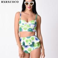 RXRXCOCO Plus Size Swimwear Women Sexy Backless Bikini High Waist Bikini Set Female Printed Sport Swimsuit