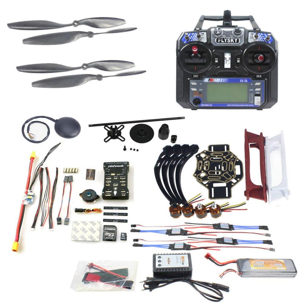 JMT DIY FPV Drone Quadcopter 4-axle Aircraft Kit 450 Frame PXI PX4 Flight Control 920KV Motor GPS FS-i6 Transmitter