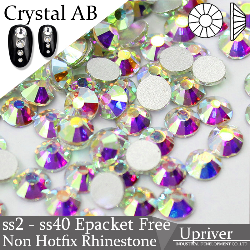 Upriver Ss2 - Ss40 Crystal AB Rhinestones Nail Rhinestones Glass Strass Nail Art Stone Flatback Strass Non Hotfix Rhinestones