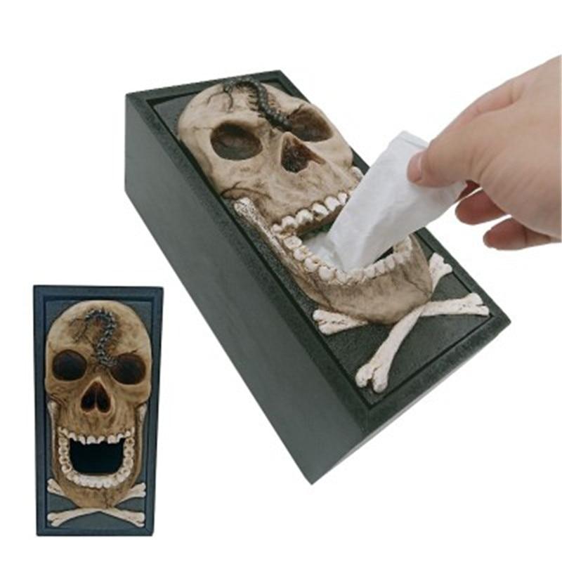 Skull Car Tissue Box Napkin Holder Car Seat Box For Office Home Decoration Car Ornaments Interior Dashboard Decoration