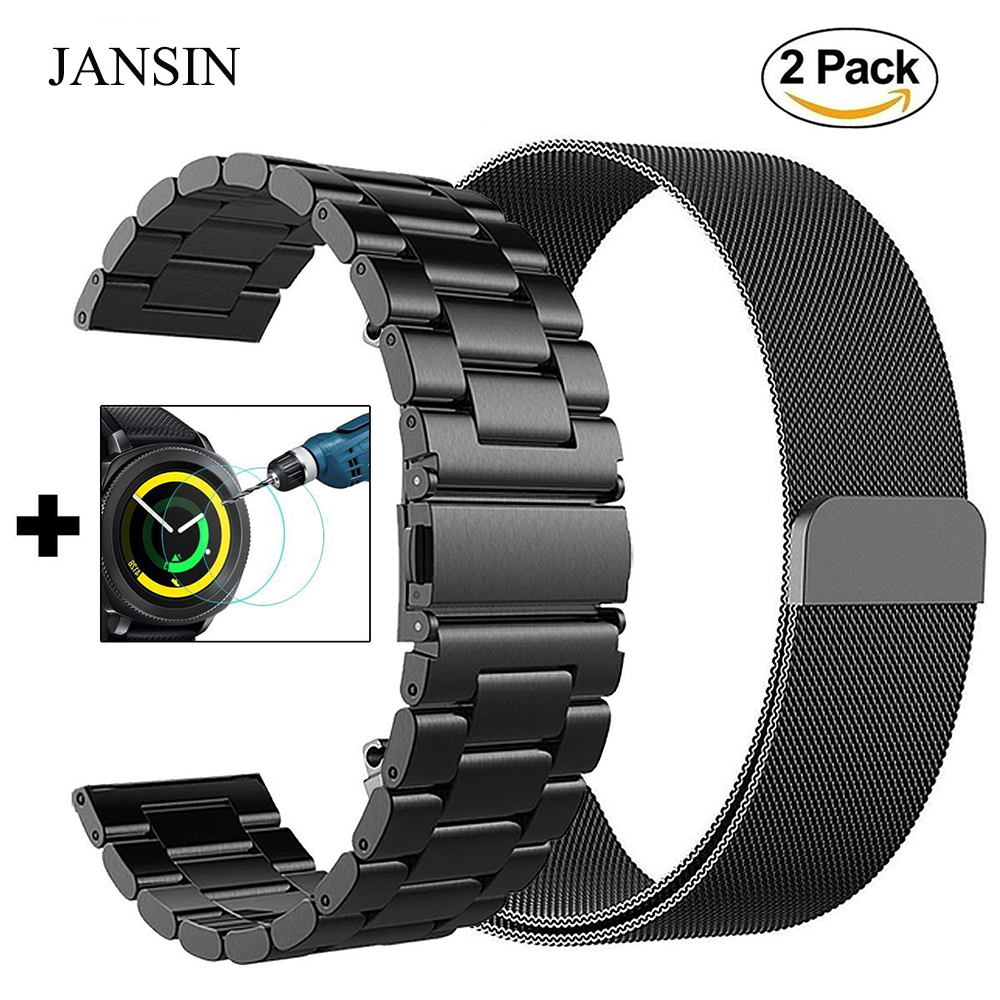 20mm Universal Milanese Loop Band For Samsung Gear Sport /Gear S2/Galaxy Watch 42mm Adjustable Stainless Steel Strap