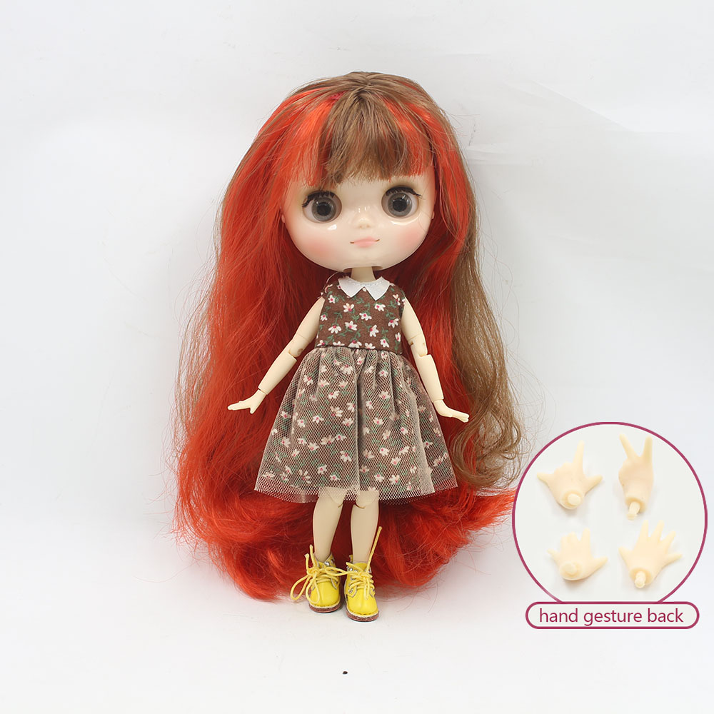 Nude middie blyth joint doll Red mix brown hair Transparent face suitable DIY gift for girl like the icy doll middle blyth
