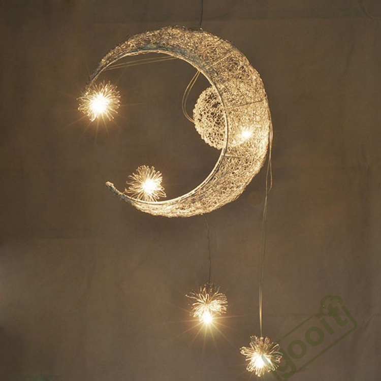 Aluminium Wire Moon Star Featured Pendant Lamps with 5 Lights G4 Lighting Chandeliers blubs moon flac jeans