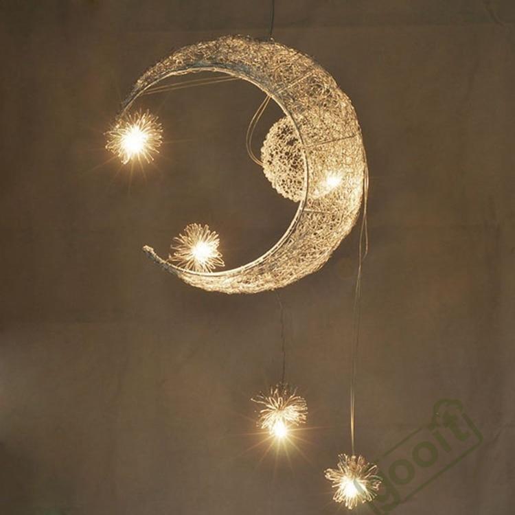 Aluminium Wire Moon Star Featured Pendant Lamps with 5 Lights G4 Lighting Chandeliers blubs джинсы мужские g star raw 604046 gs g star arc