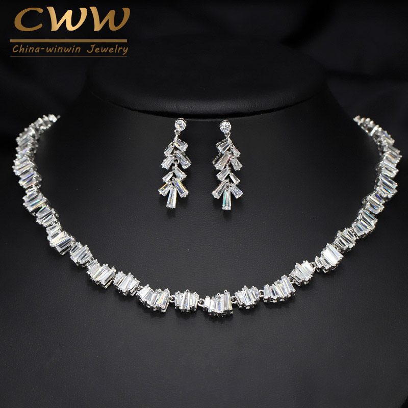 CWWZircons Geometric Square CZ Zirconia Stones Fashion Famous Brand Necklace Earrings Wedding Party Jewelry Set For Women T078 цена 2017