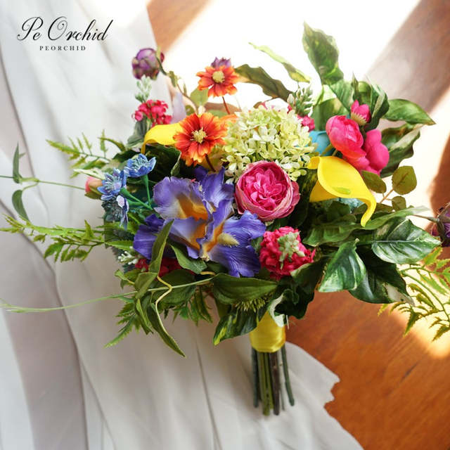 Peorchid Summer Fall Flower Bouquet Wedding Bridal Bouquets