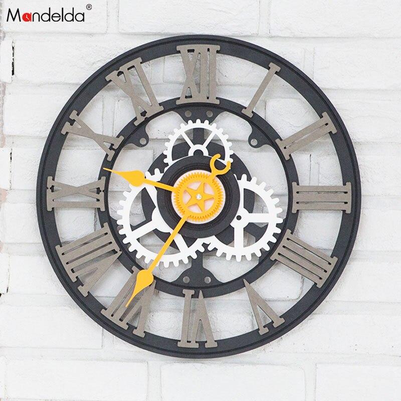 Gros Mandelda Grand Noir Vitesse D'horloge Silencieuse Quartz BRICOLAGE Accueil Décoratif En Bois Mur de Vitesse Horloge OEM/ODM
