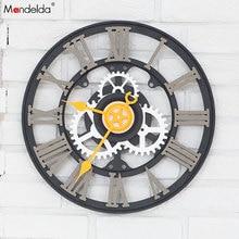 Wholesale Mandelda Big Black Gear Clock Silent Quartz DIY Home Decorative Wooden Wall OEM/ODM
