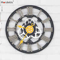 Wholesale Mandelda Big Black Gear Clock Silent Quartz DIY Home Decorative Wooden Gear Wall Clock OEM/ODM
