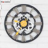 Wholesale Mandelda Big Black Gear Clock Silent Quartz DIY Home Decorative Wooden Gear Wall Clock OEM/ODM