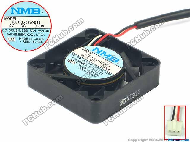 NMB-MAT 1604KL-01W-B19 BA1 DC 5V 0.09A 40x40x10mm Server Square