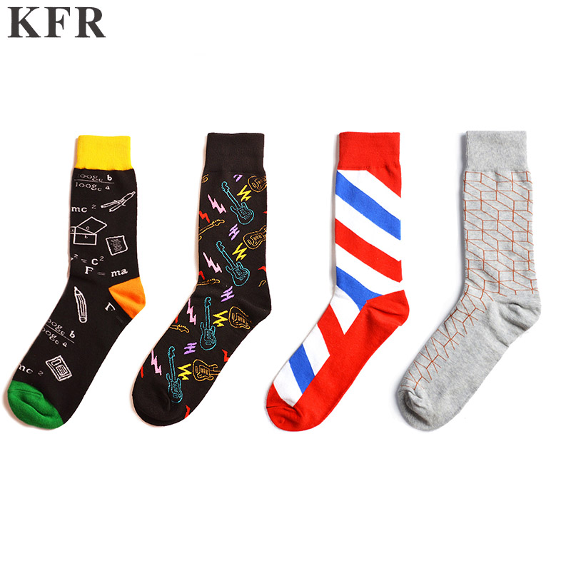 Happy Socks Geometric Music Element Funny Mens Socks Cotton Skateboard Hip Hop Street Crew Harajuku Art Fashion Short Socks