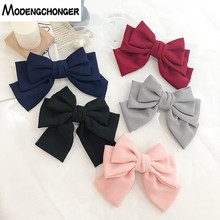 High Quality Hairgrips 3 Level Big Large Hair Bow Solid Color Barrette Hair Clips Hairpins For Women Ponytail Hair Accessories korean high quality hair accessories mickey minnie bow knot hair clips kids hairgrips polka dot hairpins headdress set