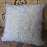 45 45cm Real Mongolian Sheep Fur Pillow Little Lamb Pillow On Sale Natural White Mongolian Tibetan