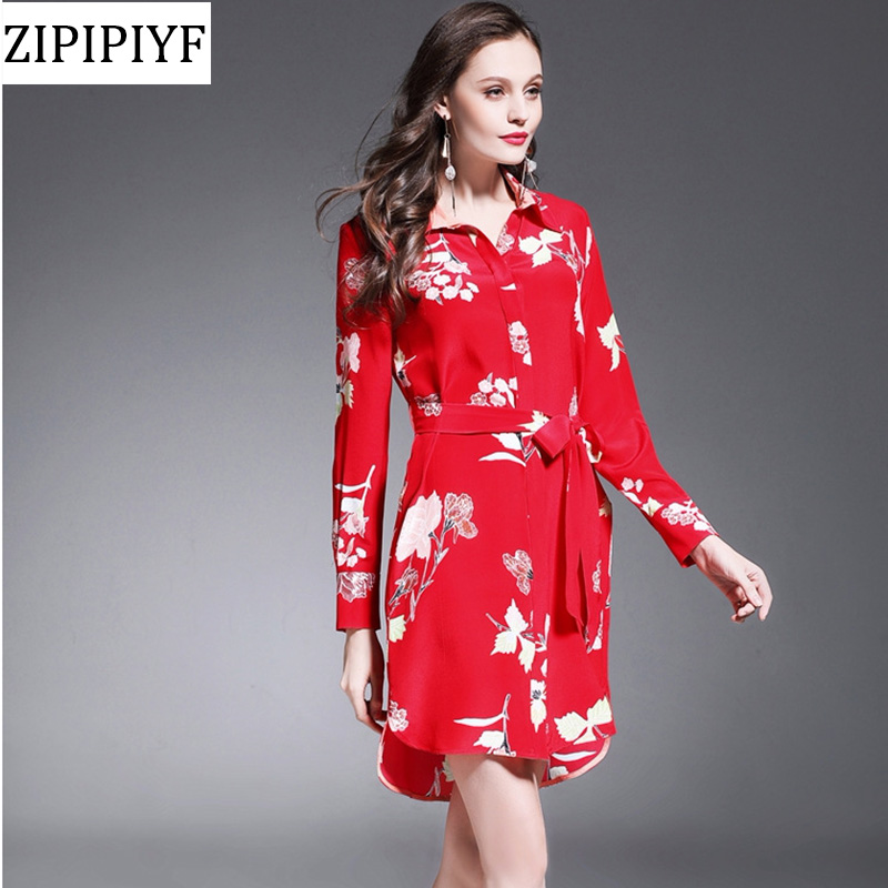 Real Silk Dress Spring Summer Top Quality Women Turn down Collar Elegant Floral Print Long Sleev Belt Casual Shirts Dress