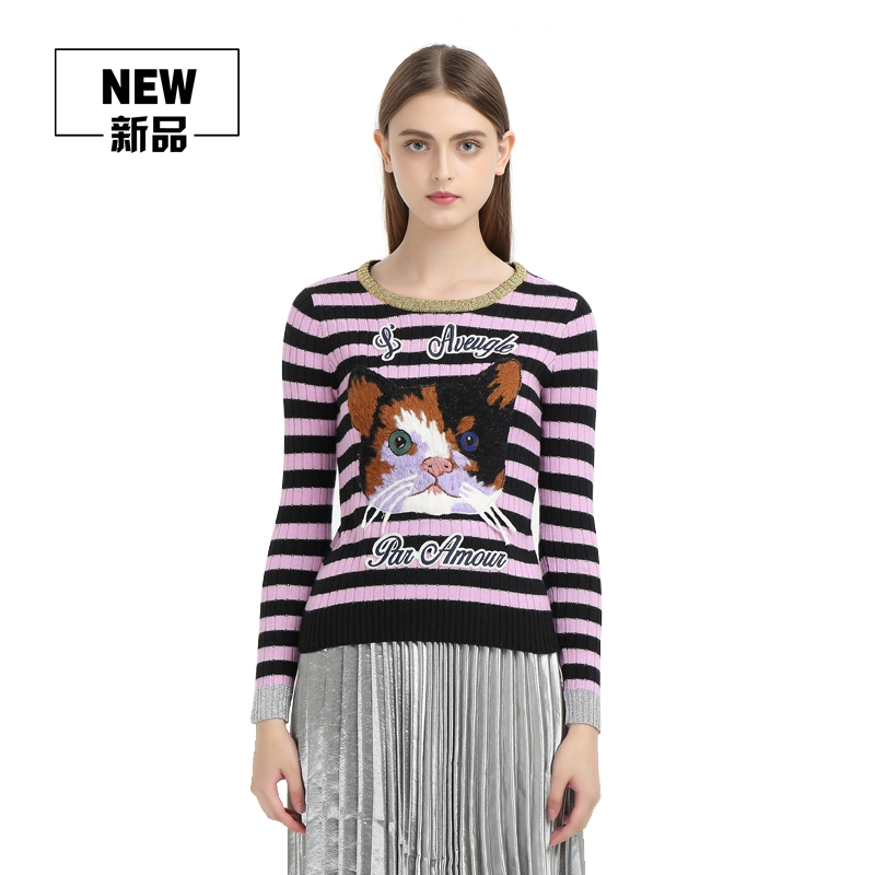 Women's Pink And Black Cashmere Merino Wool Striped Sweater Womens Crewneck Cat Applique Embroidered Knitted Sweaters Pullover calvin klein new black white colorblock womens size large l crewneck sweater $79