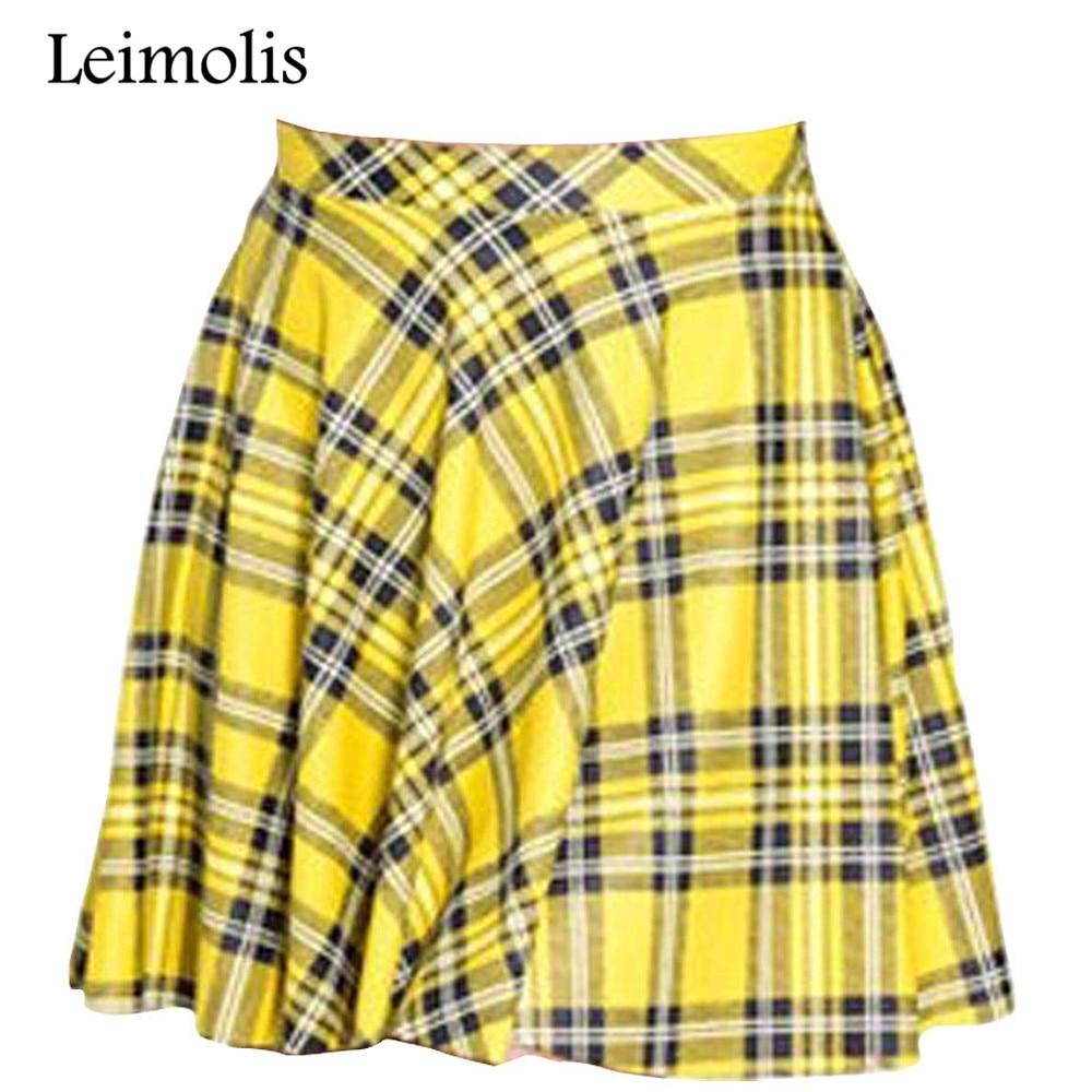 Leimolis 3d print Scotland plaid yellow summer above knee mini short harajuku casual sexy plus size pleated skirt womens