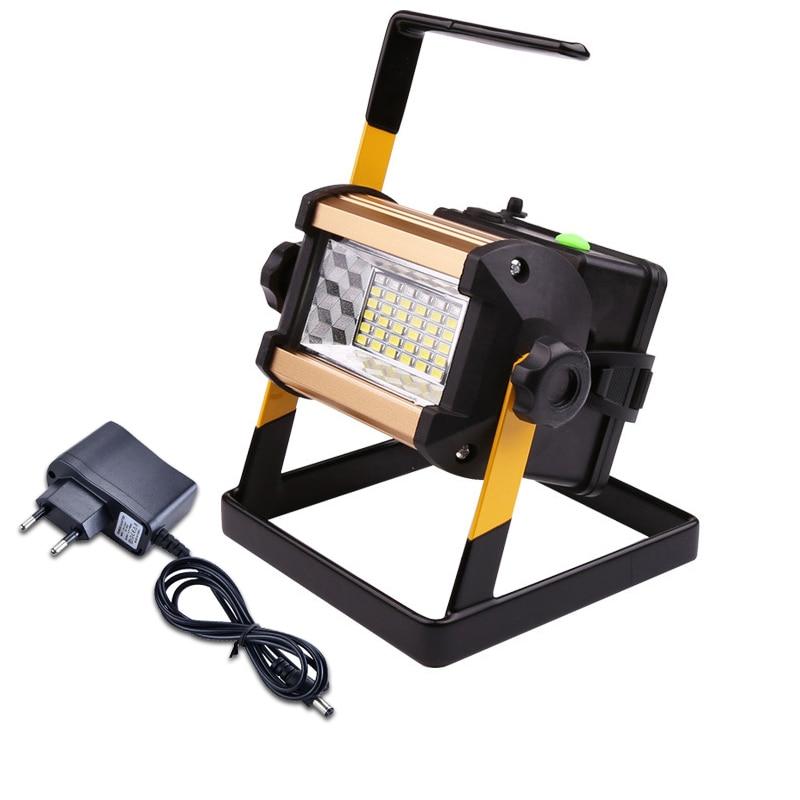 цена на 50W Rechargeable LED Floodlight 36 LEDs Portable Flood Light Waterproof Outdoor Work Spotlight 18650 Battery Camping Tent Lamp
