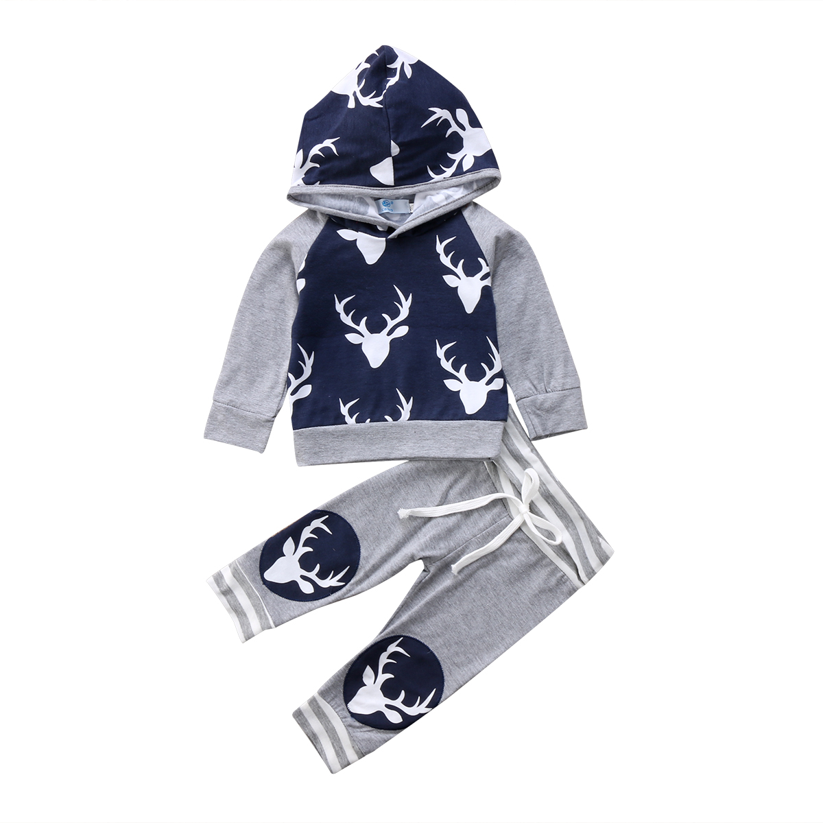 2Pcs Newborn Toddler Baby Boys Clothes Set Cotton Casual Clothing Deer Hooded Tops Long Pants Legging Outfits Set Clothes 0-24M