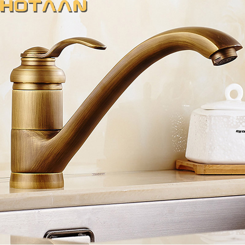Wall Mounted Kitchen Sink Faucet Dual Handle Antique Brass Bronze Hot and Cold Swivel Kitchen Faucets