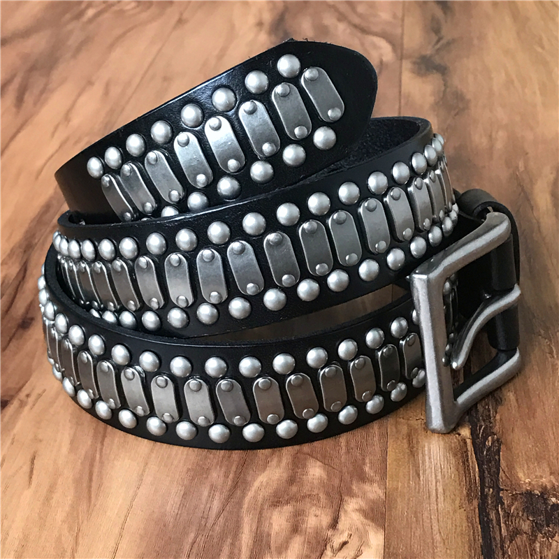 Leather Belt Men Cowboy Belts Heavy Metal Men Belt Wide Punk Hip Hop Ceinture Homme Male