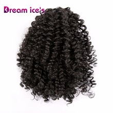 Dream ice's long synthetic kinky curly hair bun afro puff po