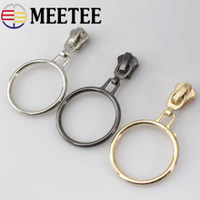 10pcs Meetee 5# Metal Zipper Slider O Ring Zip Puller Repair Kits for Bags Shoes Cloth Wallet DIY Craft Sewing Accessories F2-2