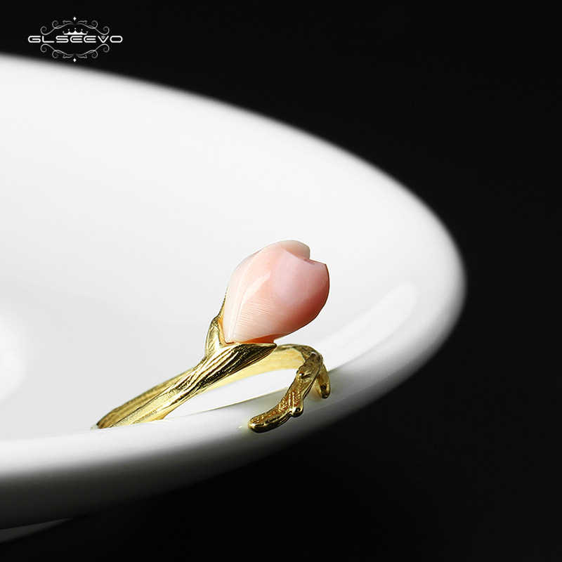 XlentAg 925 Sterling Silver Pink Magnolia Flower Wedding Ring Queen Shellfish Adjustable Ring For Women BaguesPour Femme GR0014