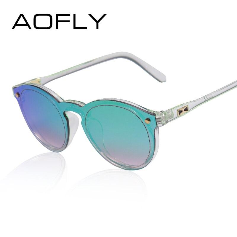 AOFLY Frauen-sonnenbrille Oval Mode Weibliche Männer Retro Reflektierende Spiegel Sonnenbrille Klar Berühmte Marke Designer Oculos