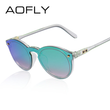 AOFLY Women Sunglasses Oval Fashion Female Men Retro Reflective Mirror Sunglasses Clear Candy Color Famous Brand Designer Oculos