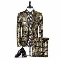 Men Wedding Suit Golden Tuxedo Paisley Flores Mens Stage Wear For Singer (Blazer+Pants) Slim Fit Sknniy Male Suit With Pants 3XL