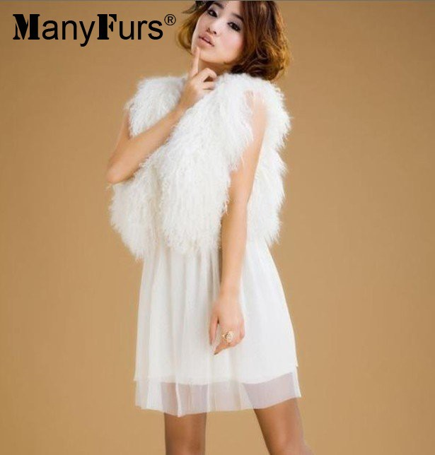 manyfurs - и вся кожа дамы жилет короткая мех жилет монгольский мех жилет размер : длина 35 см