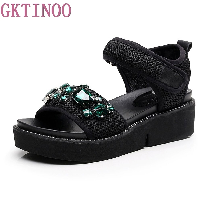GKTINOO 2018 Summer Gladiator Sandals Women Rhinestone Wedges Fashion Women Shoes Casual Comfortable Platform Female Sandal rhinestone silver women sandals low heel summer shoes casual platform shiny gladiator sandal fashion casual sapato femimino hot
