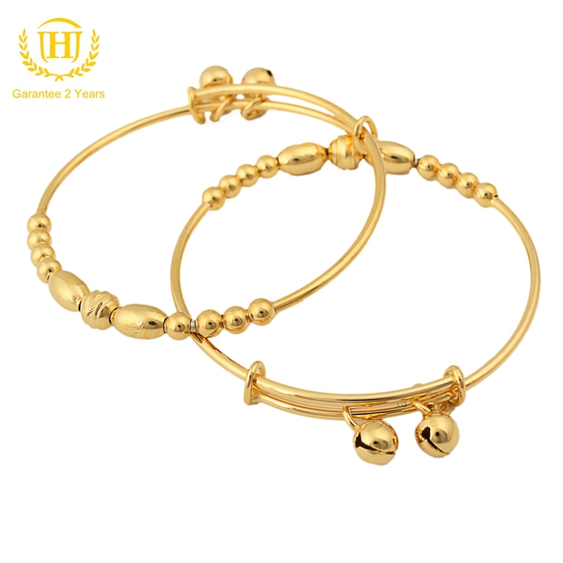 2017 New Trendy Baby Gift Plated Kids Bangles For Girls Jewelryin