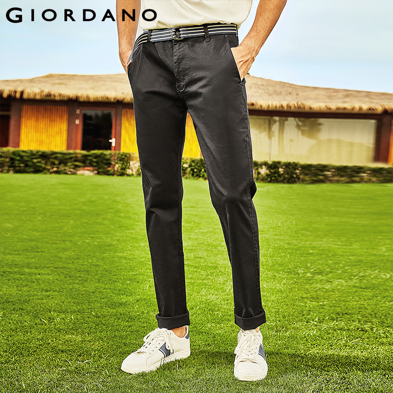 Giordano Men Khakis Twill Pants Ropa Casual Hombre Mid-low Rise Khakis Pants Solid Color Inno Trousers Brand Clothing
