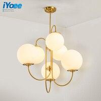 Free shipping New Milk white Glass Ball Chandelier lighting 6 heads G4 led bulb fashion designer ceiling modern chandeliers