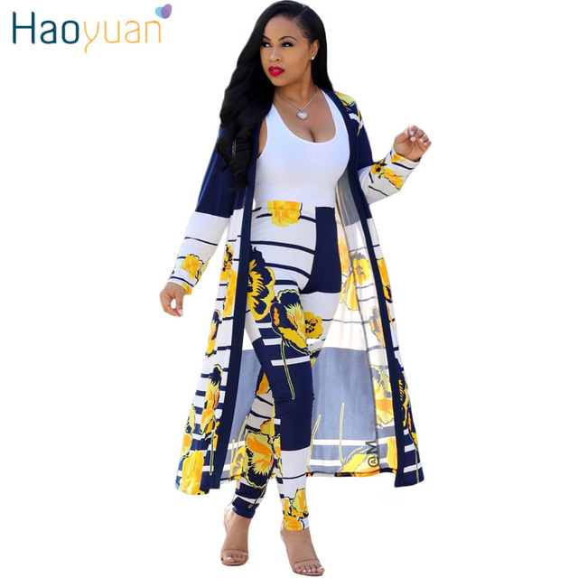 343fa6812f170 HAOYUAN 2 Piece Set Women 2018 Plus Size Cardigan Long Trench Top And Bodycon  Pants Suit Casual Clothes Autumn Two Piece Outfits