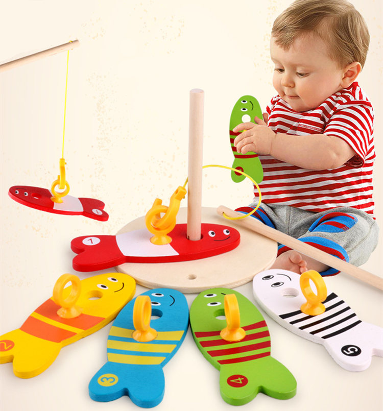 Fishing Toys For Children Digital Fishing Column Wooden Toys Educational Toys Montessori Kids Toys Birthday Gift