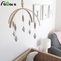 Nordic Style Wooden Wind Chimes Bell Nordic Baby Newborn Boy Girl Toys Gift Wood Hanging for Crib Tent Ornament Room Decoration