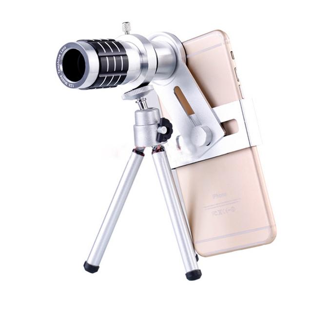 Kit de Lentes telefone 12x Zoom Telefoto Lente do Telescópio Com Tripé Móvel clipes de titular para xiaomi iphone 6 6 s 7 samsung s6 s7 s5
