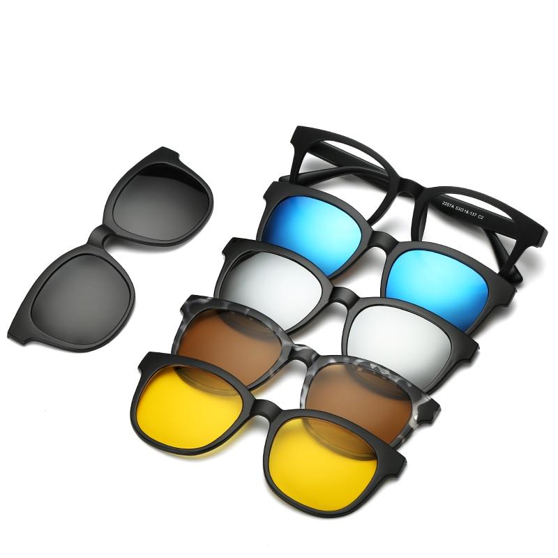 5 lenes Magnet Sunglasses Clip Mirrored Clip on Sunglasses clip on glasses Men Polarized Clips Custom Prescription Myopia