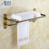 Twin Flowers Series Carving Antique Brass Towel Rack Towel Shelf With Single Towel Bar Hooks Wall Mounted Bathroom Accessories