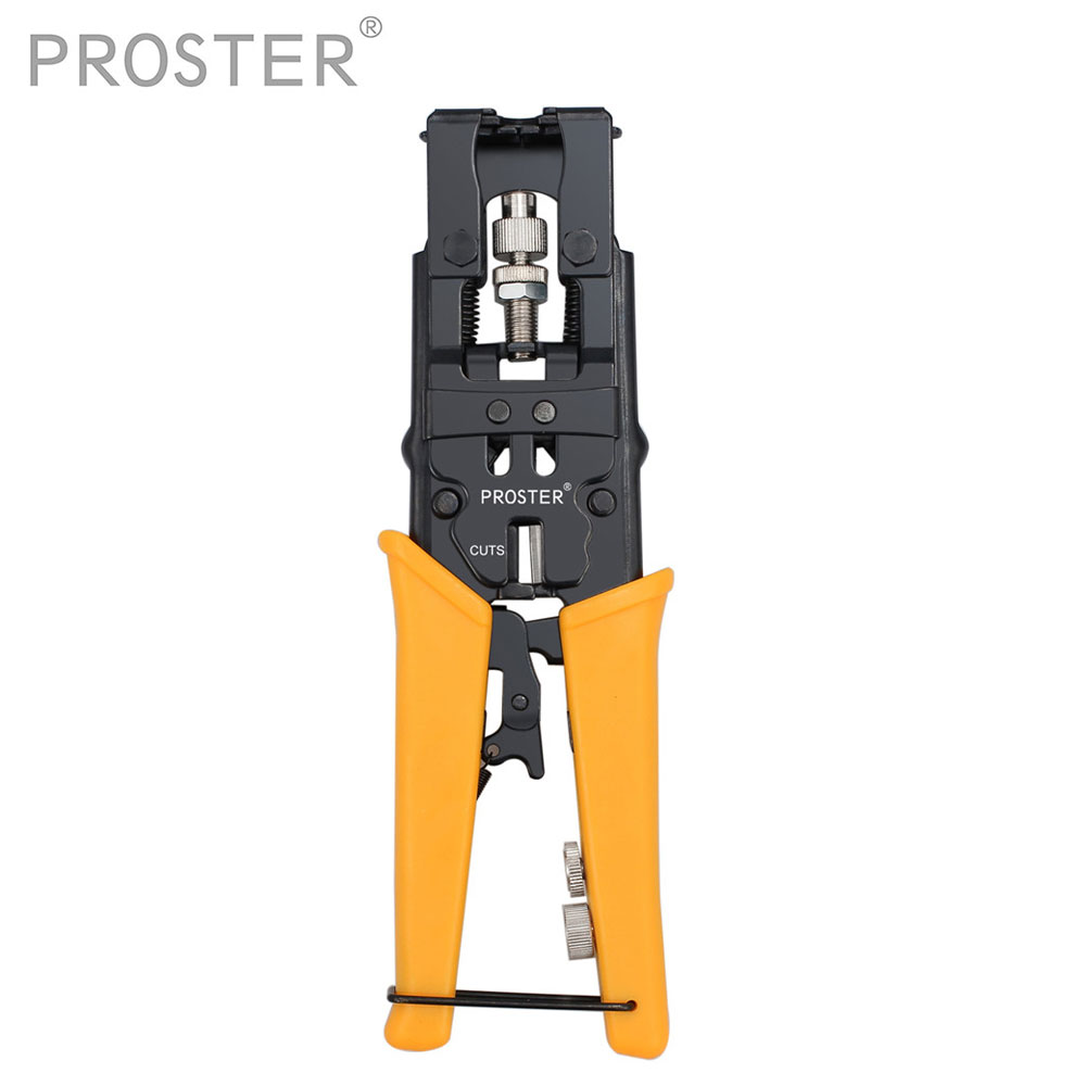 Automatic Cable Wire Stripper Coaxial Cable Stripping Crimper Crimping Plier Cutter Tool With RG59 F Connectors Kit Set gr59 6 7 11 universal wire stripper multi purpose cable stripper cable wire jacket stripper cable cutter stripping scissors tool