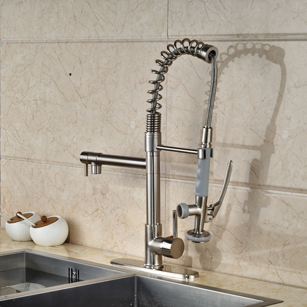 Nickel Brushed Kitchen Faucet Dual Spouts Vessel Sink Mixer Tap + 8'' Hole Cove Plate led chrome kitchen faucet dual spouts spring vessel sink mixer tap