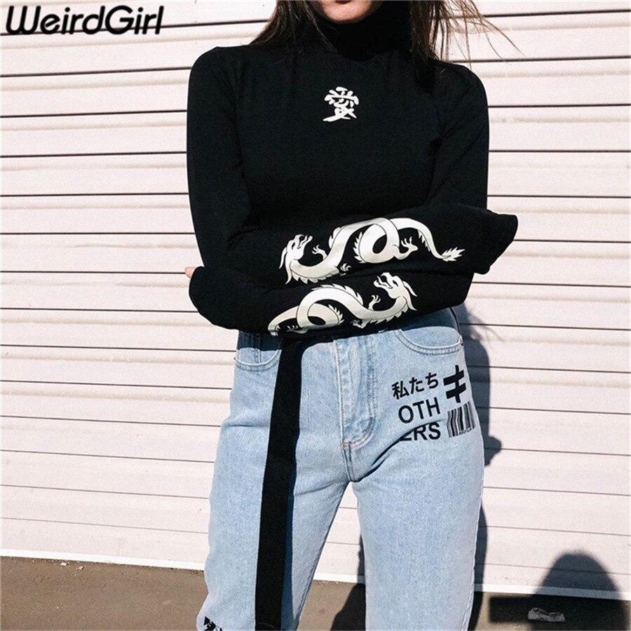 Weirdgirl kobiety kochają nadruk ze smokiem koszulki odblaskowe moda golf koszulka z długim rękawem Slim koszule w stylu harajuku kobieta noc Top 1